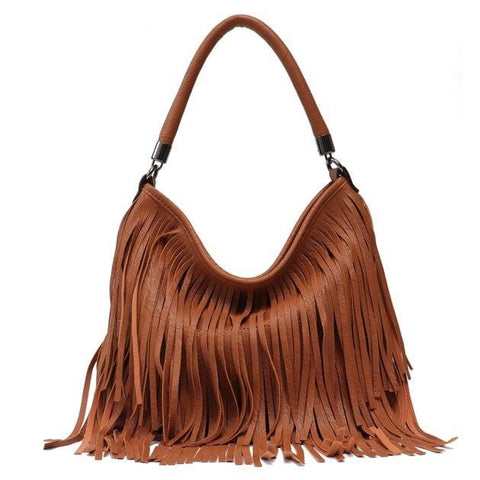 Image of Fashionable Hippie Purse - High-Quality Vegan Leather Handbag with Fringe Tassels