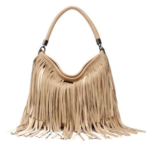 Fashionable Hippie Purse - High-Quality Vegan Leather Handbag with Fringe Tassels