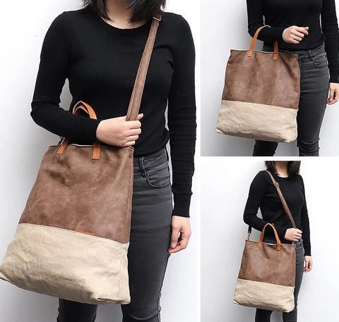 Large Casual Faux Leather Patchwork Tote Bag for Women - Vegan Leather Canvas Shoulder & Crossbody Bag