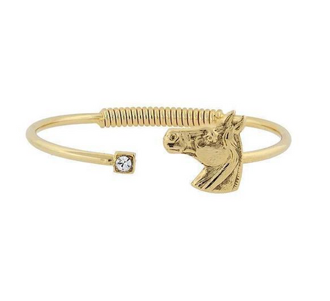 14k Gold Horse Hinge Bracelet - Clear Crystal Gold Dipped with Horse