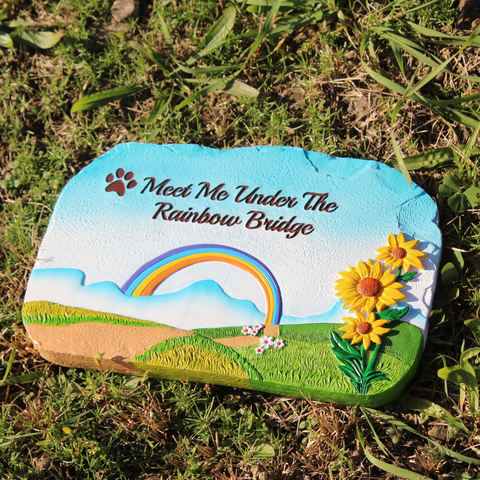 "Image of Humane Goods ""Rainbow Bridge"" Pet Memorial Stone Edition - 9"" x 6"" x .75"" Pet Remembrance Gift"