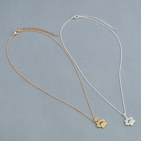 """Paw Print On My Heart"" Gold/Silver Pendant Necklace"