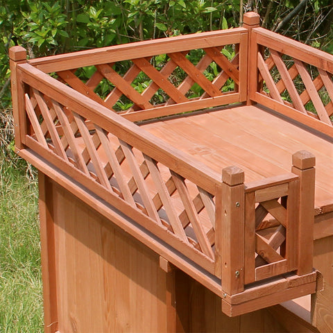 Weather-Proof Outdoor Dog / Cat House with Balcony - Made with Hemlock Built-to-Last