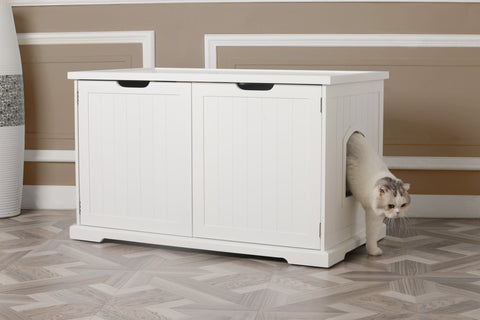 Image of Merry Products Cat Furniture Washroom Bench with Double Doors - White and Walnut Color