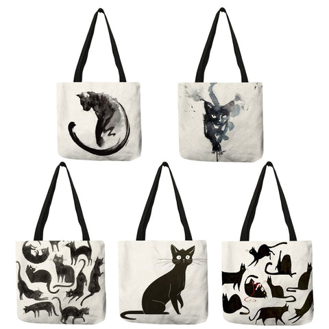 Watercolor Linen Cat Tote Bag - Folding, Reusable Fabric Handbag For Shopping, Groceries, and More