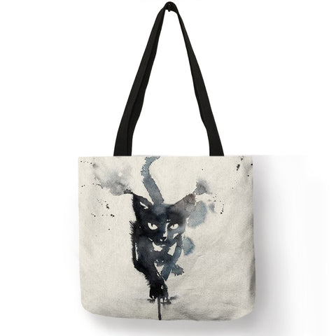 Image of Watercolor Linen Cat Tote Bag - Folding, Reusable Fabric Handbag For Shopping, Groceries, and More