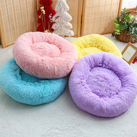 Marshmallow Soft Round Cat or Small Dog Bed - Machine Washable Soft Plush Pad in Different Colors