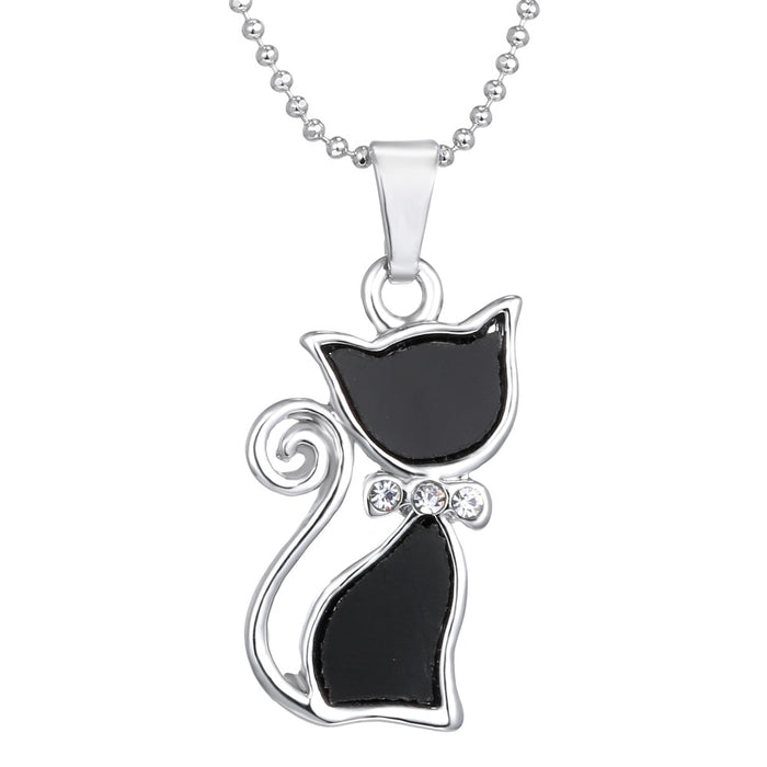 Crystal Black Cat Necklace - Chic Necklace for Cat Lovers with Silver Plated Rhinestones