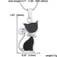 Image of Crystal Black Cat Necklace - Chic Necklace for Cat Lovers with Silver Plated Rhinestones