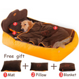 Image of Soft Dog Bed with Blanket - Washable 3 PC Dog Bed with Multiple Size Options