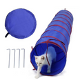 Image of Large Cat Tunnel - Foldable, Indoor/Outdoor Pet Play Tunnel Toy for for Cats, Kittens, Small Dogs, and More