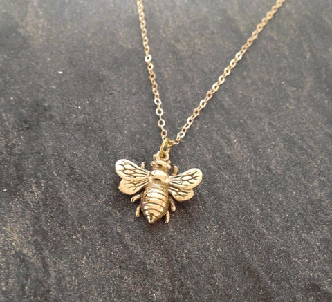 Image of Bee Jewelry - Gold or Silver Trendy Honey Bee Necklace