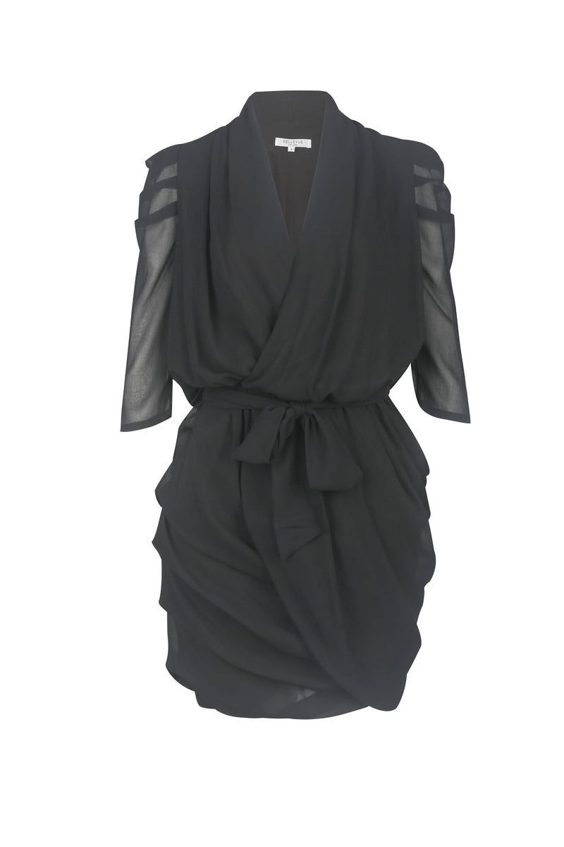 Alice Drape Mini Dress- Black