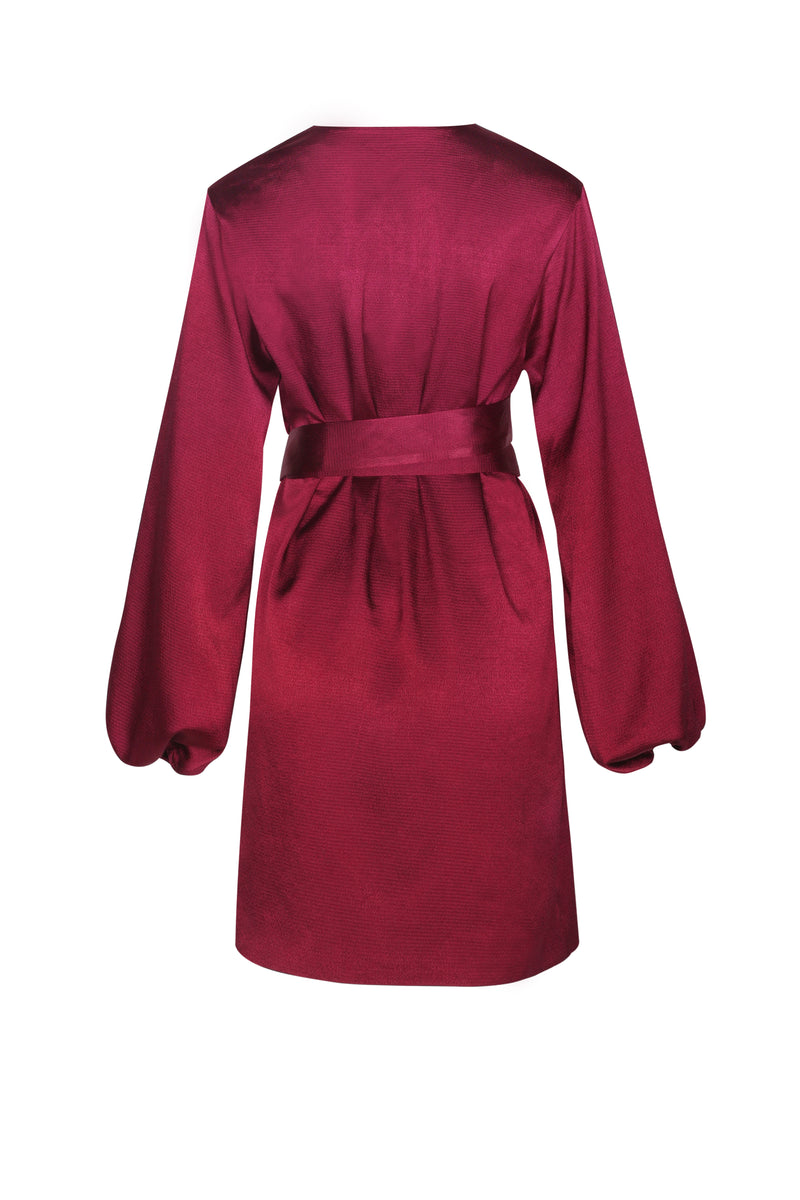 Aurora Long Sleeve Satin Wrap Dress- Rouge