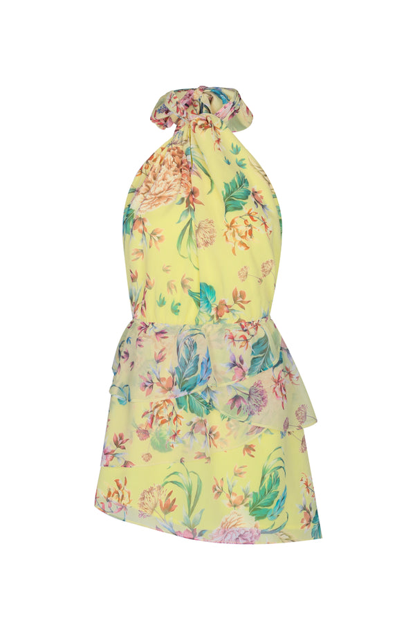 Citrus Fleur Mini Dress- Lemon Floral