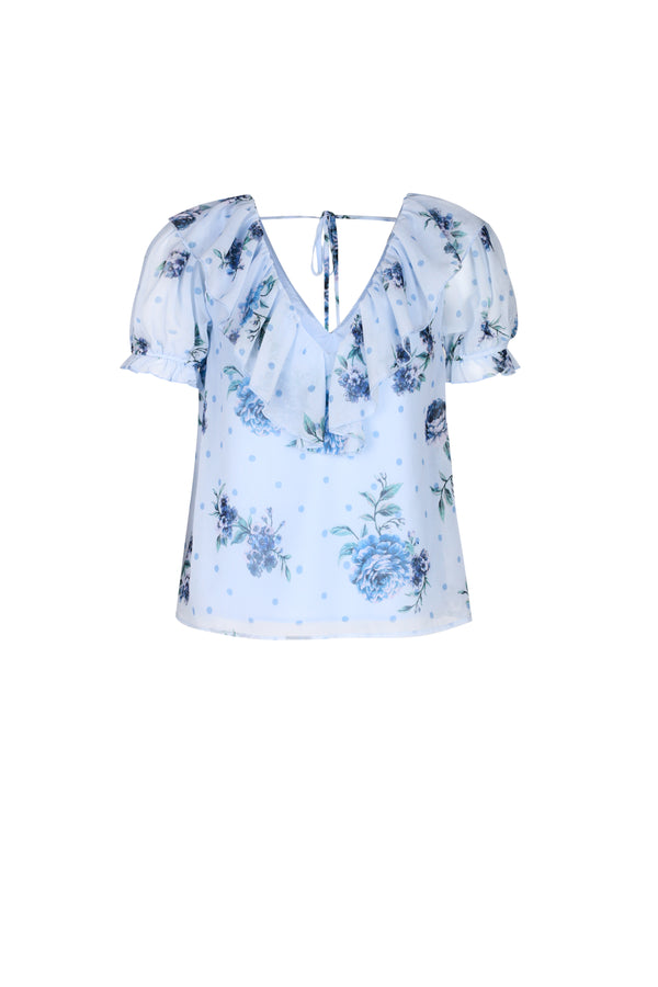 Blossom Blouse- Dusty Blue Floral