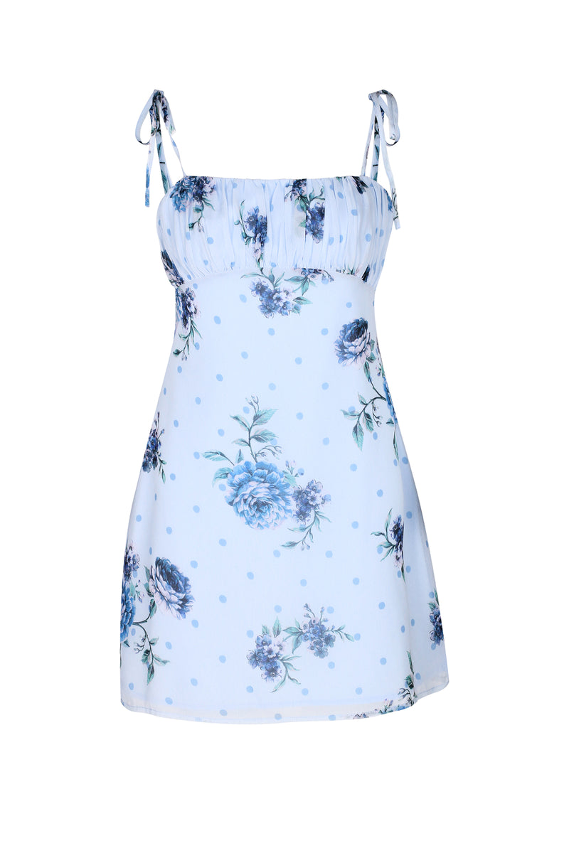 Blossom Mini Dress- Dusty Blue Floral