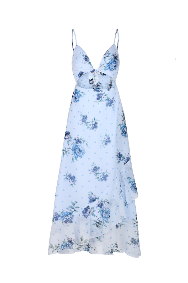 Blossom Midi Dress- Dusty Blue Floral
