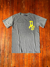 "Load image into Gallery viewer, Denim/Yellow ""DW"" Tee"