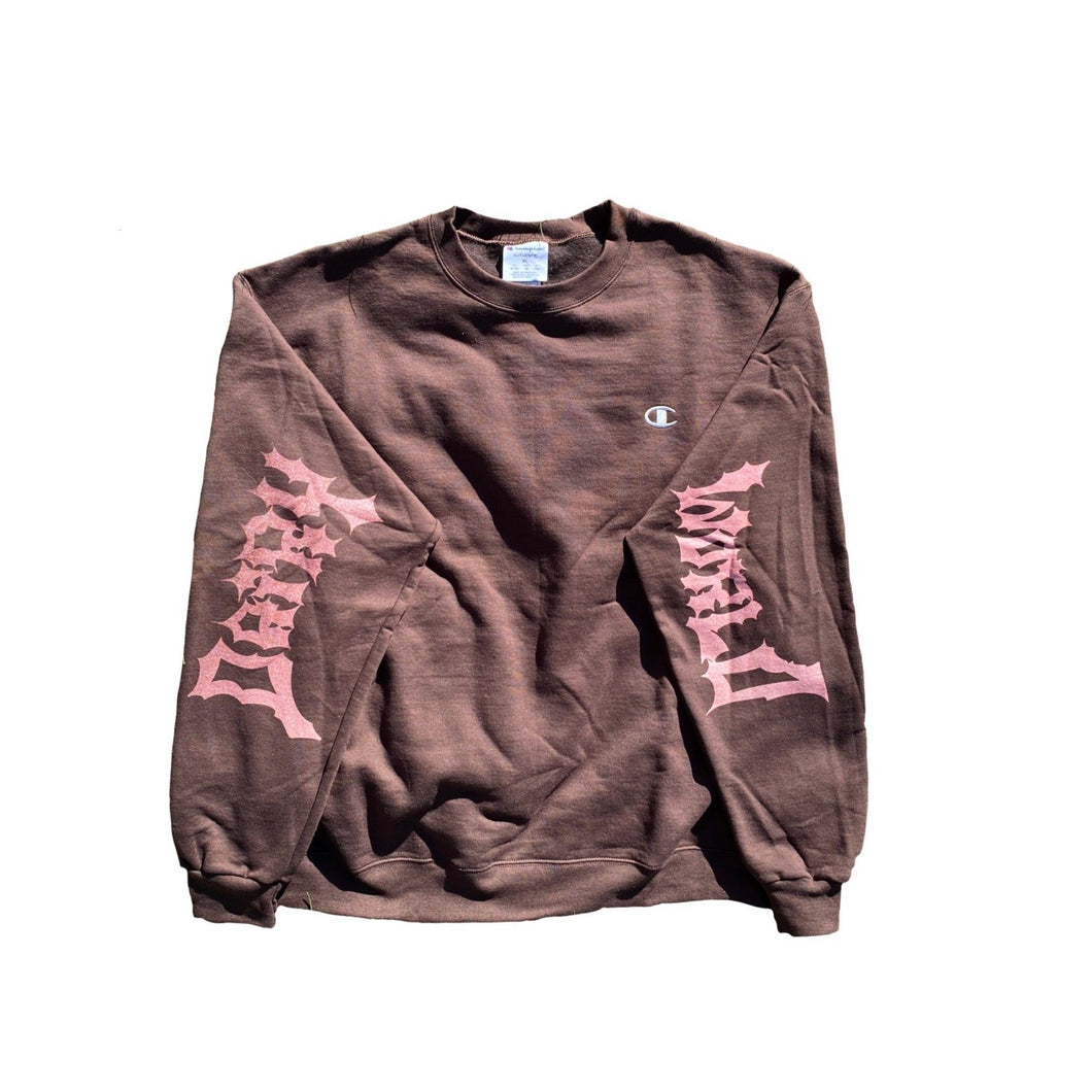 Brown Sleeve Logo Crewneck