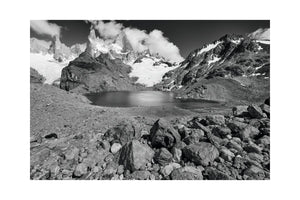 Laguna de los Tres with Mount Fitzroy, Monochrome