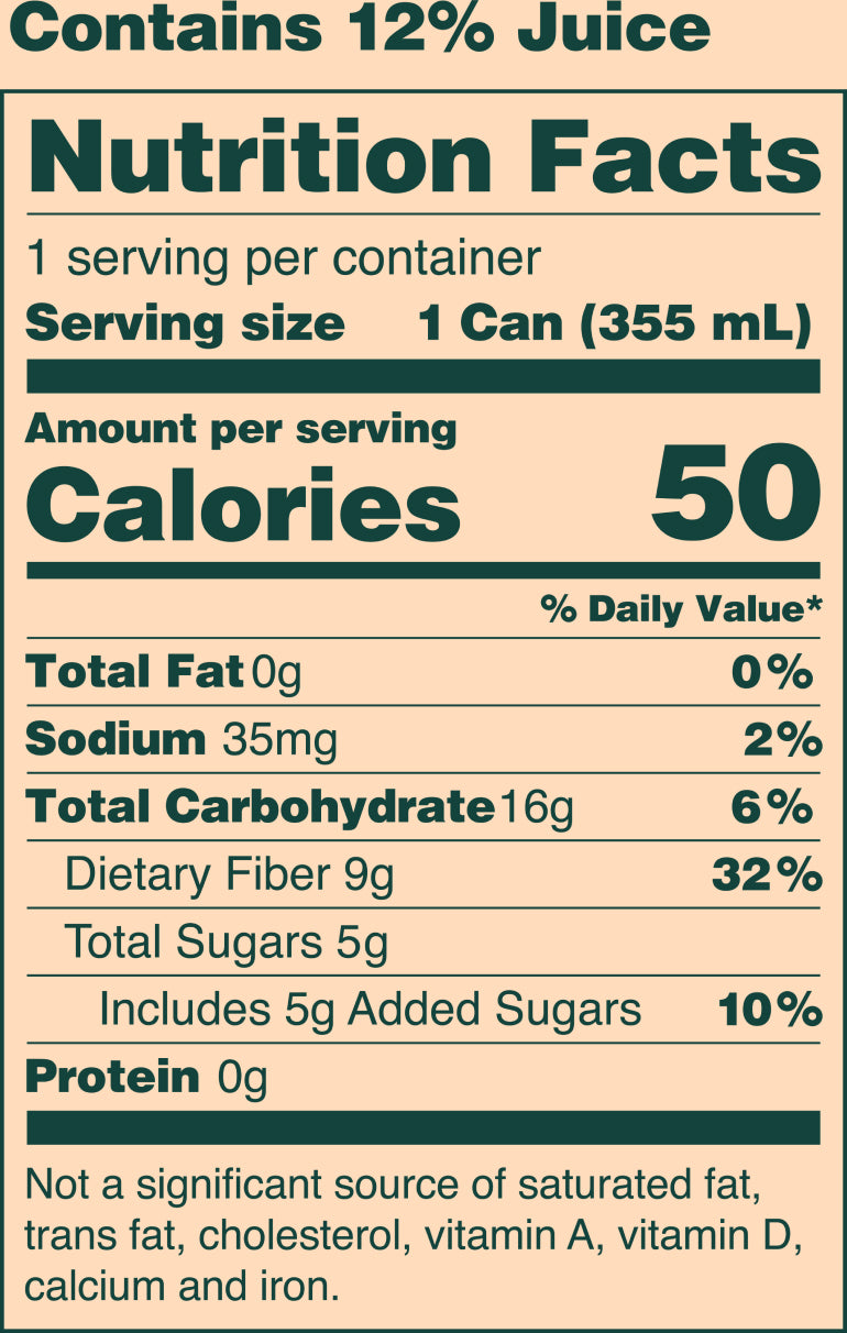Nutrition facts table, contains 12% juice