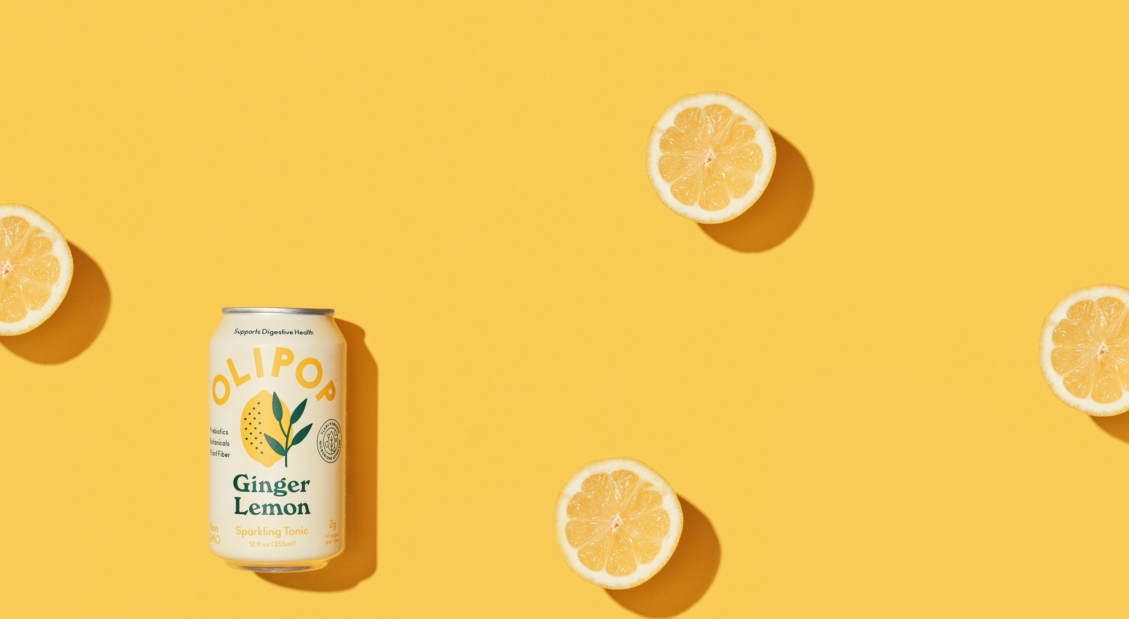 Ginger Lemon Olipop can with surrounded by sliced lemons.