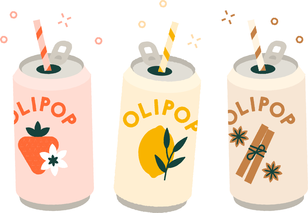 An illustration of 3 OLIPOP cans with colorful straws in each of them.