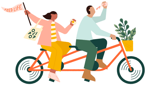 "A bright illustration of two people riding a tandem bicycle while drinking OLIPOP. A waving ""feed life"" flag trails behind them."