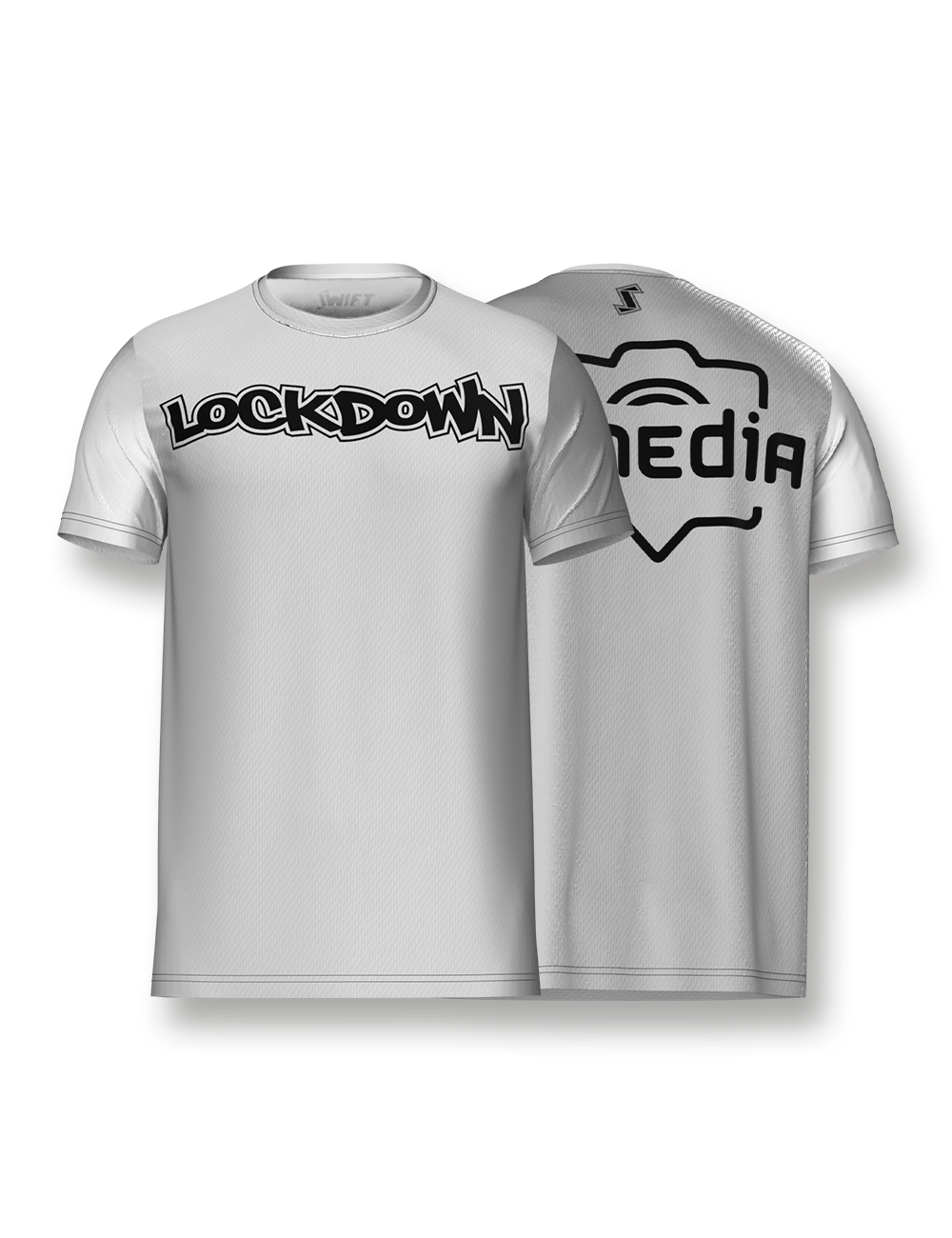 White & Black LockDown x AJ Media Tech Tee - LockDown Team Store
