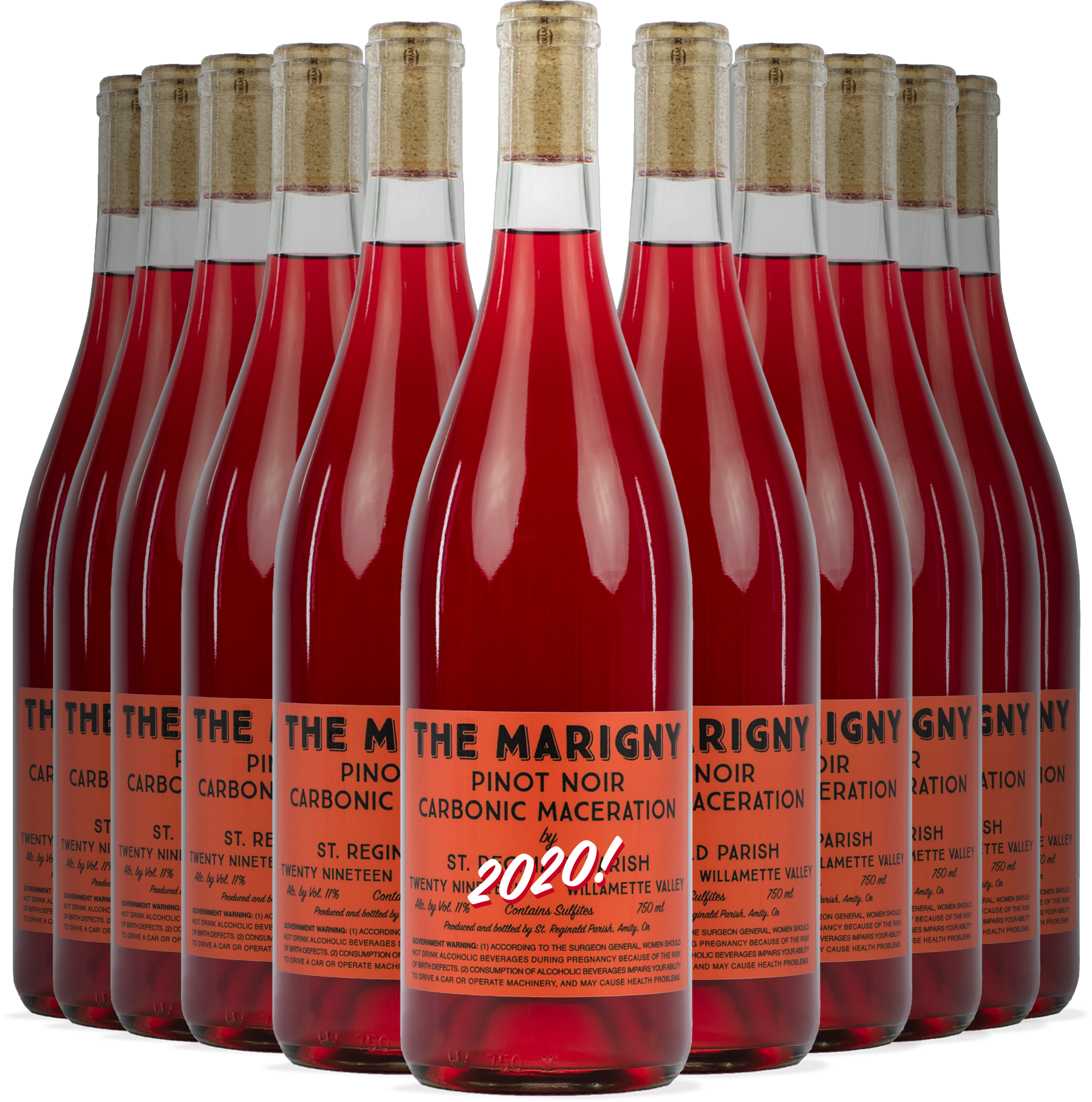 12 Bottles of The Marigny Pinot Noir Carbonic Maceration with the date 2020