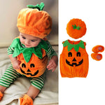 Cosplay Halloween Baby Kid Pumpkin Suit Top Blouse Dress+Hat+Shoes Costumes 3PCS