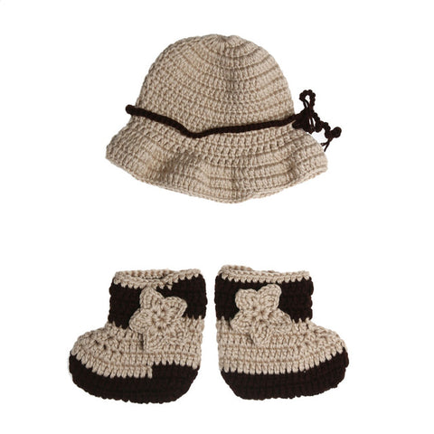 Newborn Photography Props Baby Infant Crochet Knit Cowboy Costume Hat Photo Props Baby Cap + Shoes