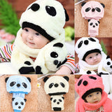 Baby Caps 2017 Winter Hats For Kids Children Boys Cute Warm Childre's Winter Hat Scarf  Wool Animal Panda Cap Baby Hat and Scarf