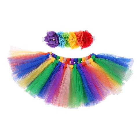 2pcs/Set Newborn Baby Photography Props Accessories Girls Tulle Tutu Skirt Flower Headband Flower Baby Photos Props