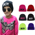 A Hat For A Boy 2018 Baby Boys Hat Knitted Woolen Boy Letter Caps Children's Hats for Boys Baby Kids