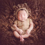 Lion Shape Newborn Baby Cute Photography Props Baby Hand Knitting Sweater Romper with Hat Kids Taking Photo Clothing Accessaries