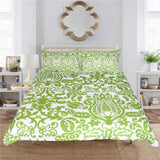 BeddingOutlet Floral Bedding Set Simple Style Duvet Cover With Pillowcase Green and White Bed Set 3-Piece Leaf Bedclothes