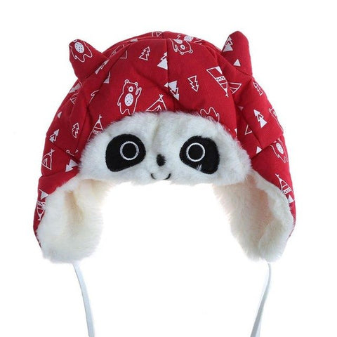 Lovely Baby Animal Panda Fleece Hats Kids Winter Warm Earflap Caps Beanie Cute Infant Boy Girl Thicken Bomber Hats 4 Colors