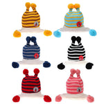 Cute Cartoon Bee Baby Hat Winter Knitted Woolen Striped Hat Infant Beanie Cap Hair Ball Children Fleece Earflap Knit Cap