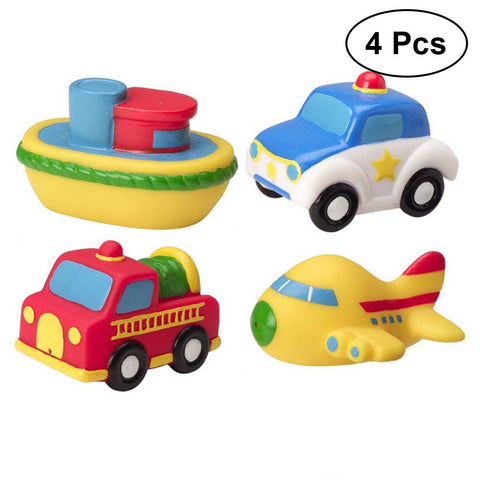 4Pcs Vehicle Baby Bath Toys Squeeze Sound Bathtime Fun Toys Squirt Water Toy for Babies and Kids