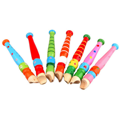 Baby toys   Fun Baby Kids Wooden Flute Whistle Early Musical Education wooden Toys Colorful New