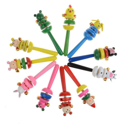 Baby Toys Rattles Wooden Activity Bell Stick Shaker Baby Toys for Newborns Children Mobiles Rattle Baby Toy Random 1pcs