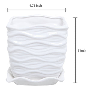 White Ceramic Wave Textured Planter (Amazon)