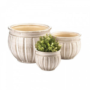 Antique Stone Planter Trio