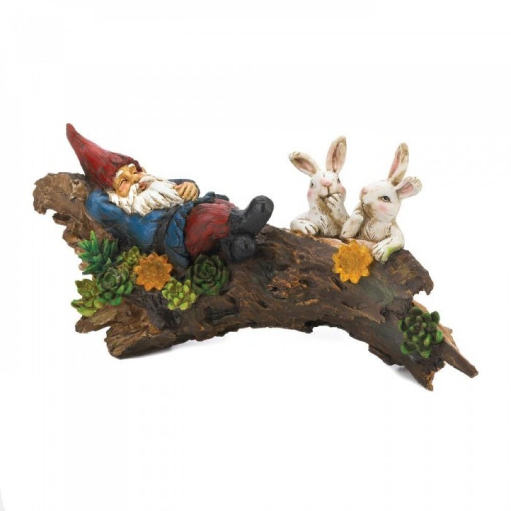 Sleeping Gnome With Bunnies Solar Statue (UHG)