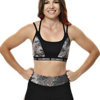 girls with guns Strappy athletic Sports Bra shade camo