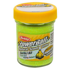 PowerBait Natural Glitter Trout Dough Bait Garlic Scent/Flavor, Yellow