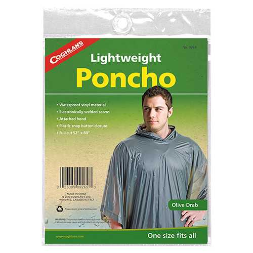 Poncho One Size Fits All, Olive Drab