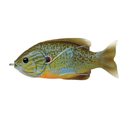 "Sunfish Hollow Body Freshwater, 3 1/2"", #4/0 Hook. Topwater Depth, Natural/Blue Pumpkinseed"
